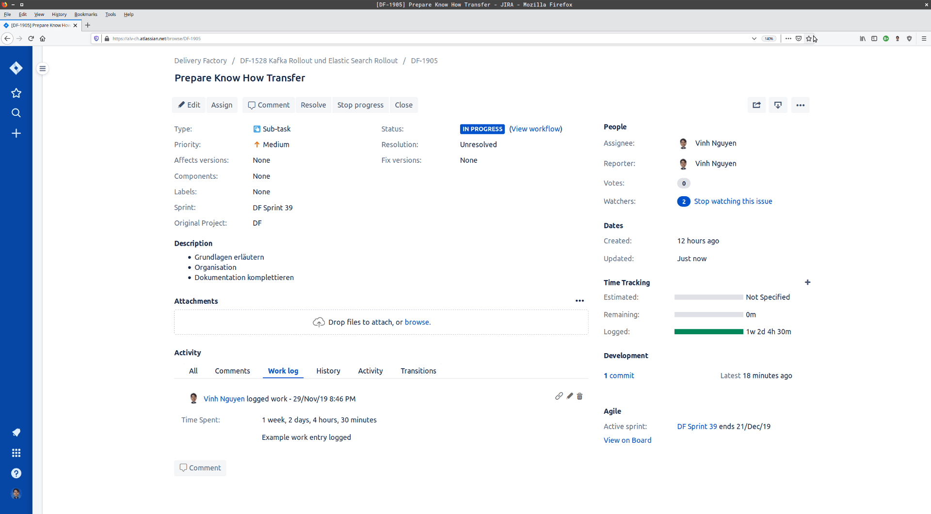 Jira Worklog Update