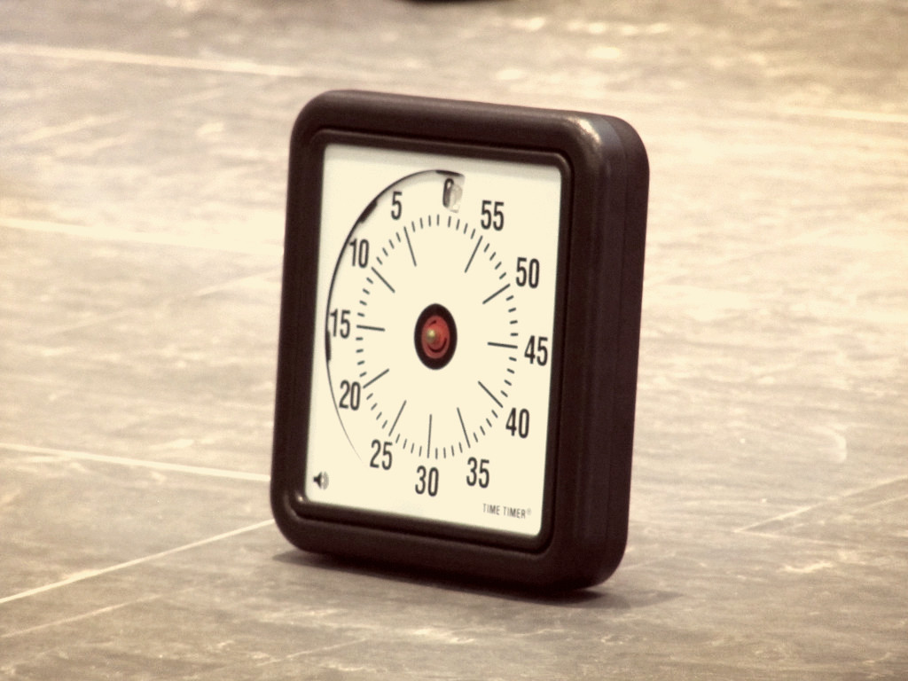 The famous Time Timer helps keep activities in term