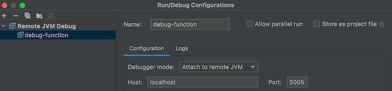 Run configuration for running the remote debugger from Intellij Idea