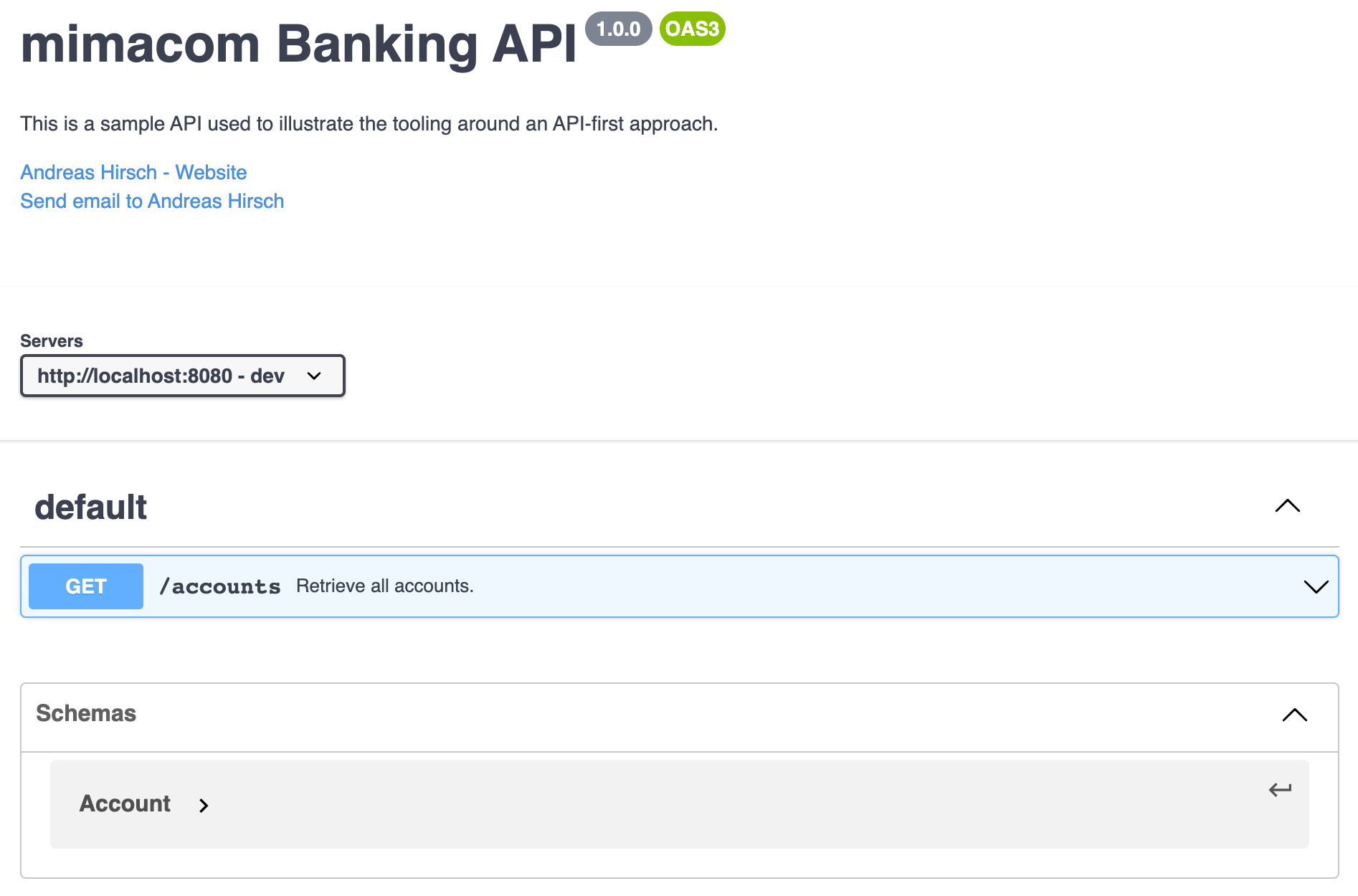 API specification visualized by Swagger UI