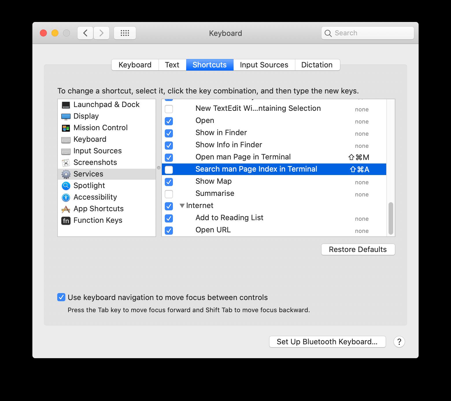 Disable Keyboard Shortcut