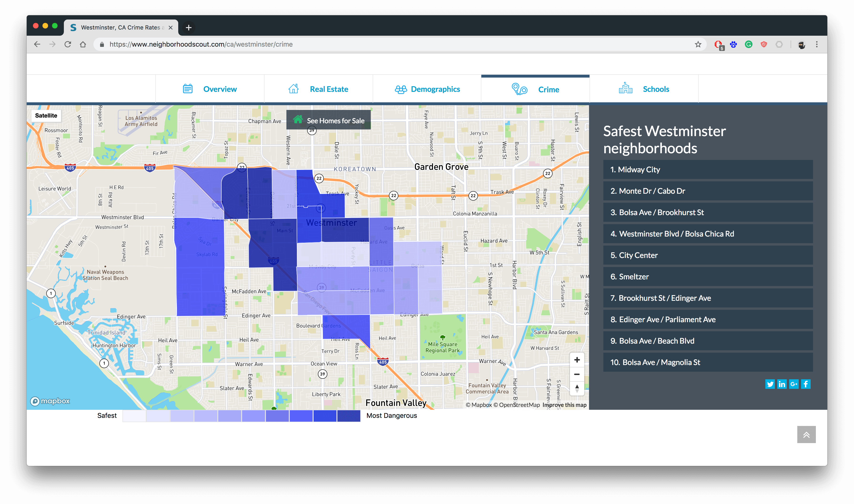 Crime Map for Real Estate